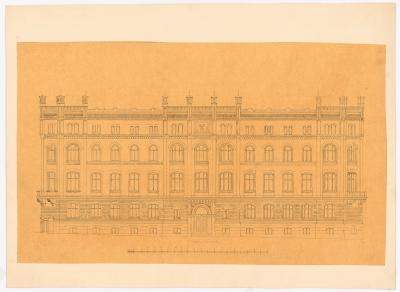 Knoblauch Gustav (1833-1916): Oberbergamt, Dortmund, Aufriss Nordseite, Bleistiftzeichnung, 1872