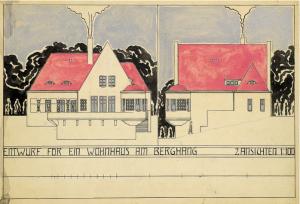Ernst Ludwig Kirchner - Entwurf für ein Wohnhaus am Berghang